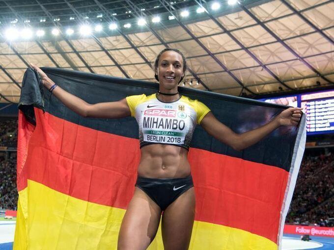 Malaika  Mihambo Europameisterin 2018 in Berlin im Weitsprung